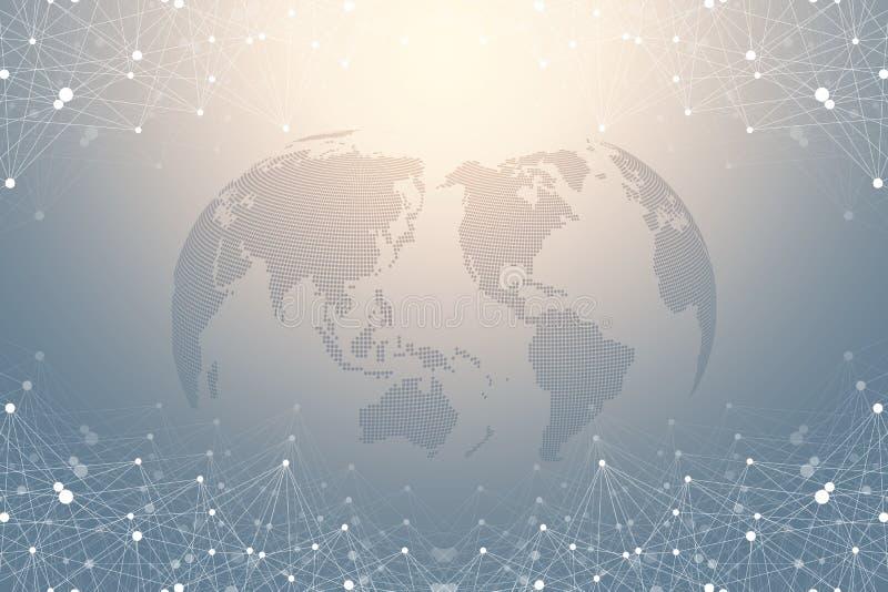 Światowej mapy punkt z globalnym technologia networking pojęciem Cyfrowych dane unaocznienie Wykłada plexus Duży dane tło ilustracji