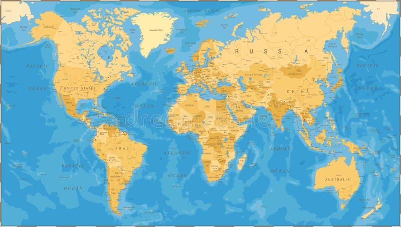 Światowej mapy rocznika Polityczny wektor royalty ilustracja