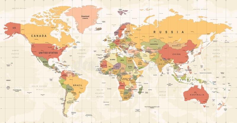 Światowej mapy rocznika wektor Szczegółowa ilustracja worldmap