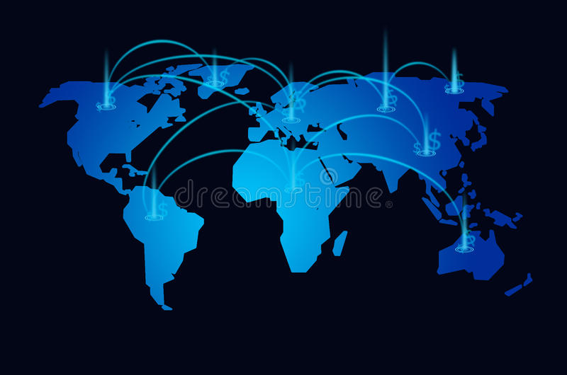 Światowej mapy rynku papierów wartościowych tło royalty ilustracja
