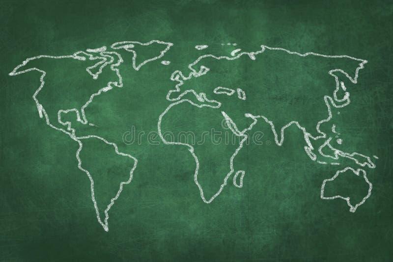 Światowej mapy rysunek na zielonym chalkboard ilustracja wektor