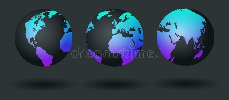 Światowej mapy set, ziemska kula ziemska Planeta z kontynentami również zwrócić corel ilustracji wektora ilustracji