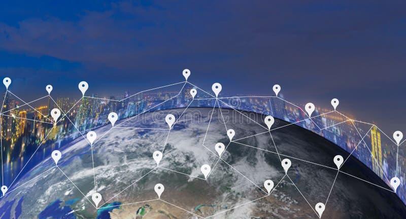 Światowej mapy sieci technologia Ziemska cyfrowa mapa elementy ten wizerunek meblujący NASA obraz stock