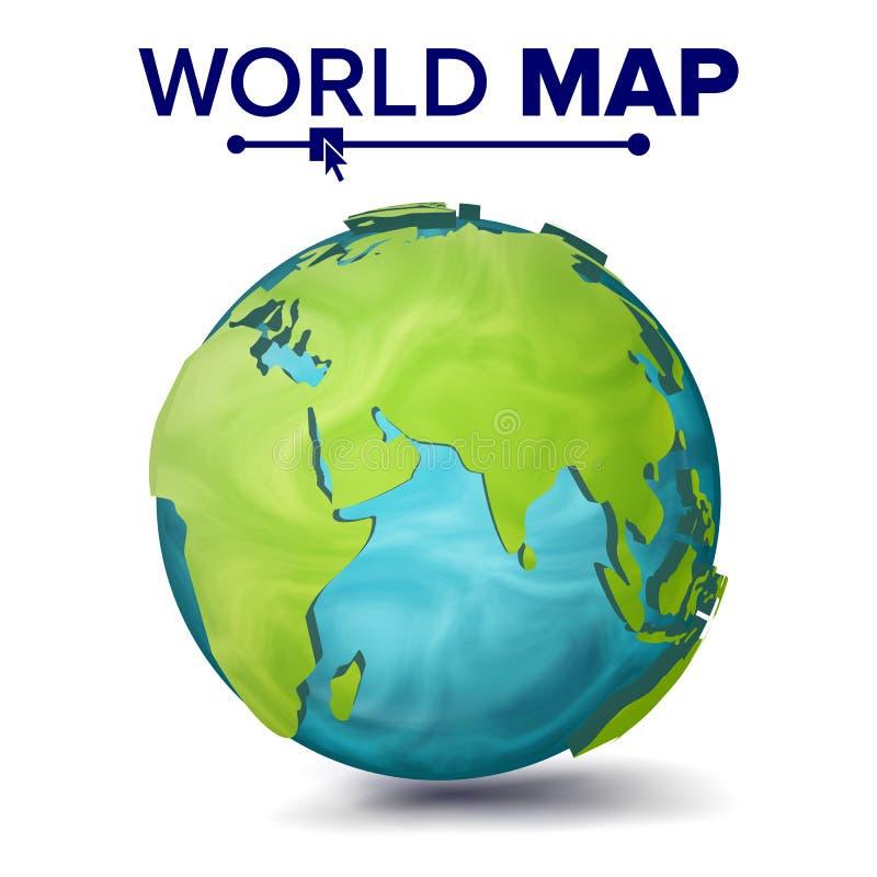Światowej mapy wektor 3d planety sfera Ziemia Z kontynentami Eurasia, Australia, Afryka ilustracja ilustracja wektor