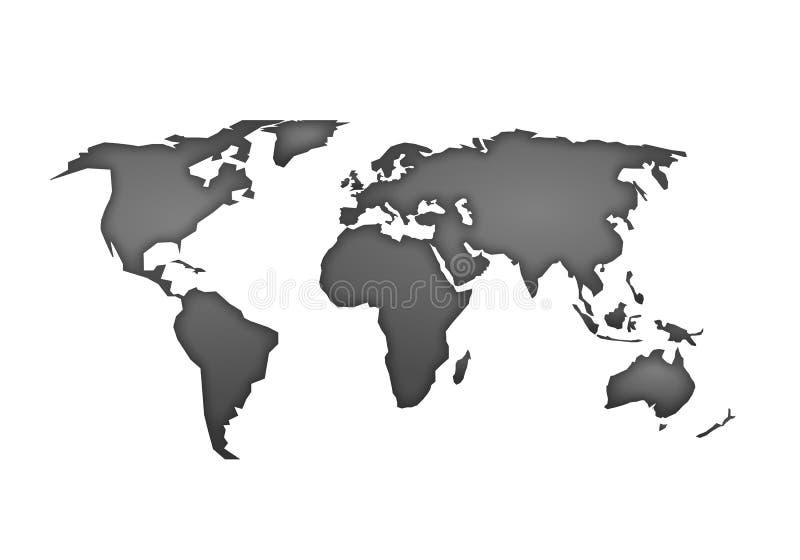 Światowej mapy wektor, odizolowywający na białym tle Mieszkanie ziemia, szarości mapy szablon dla strona internetowa wzoru, spraw ilustracji