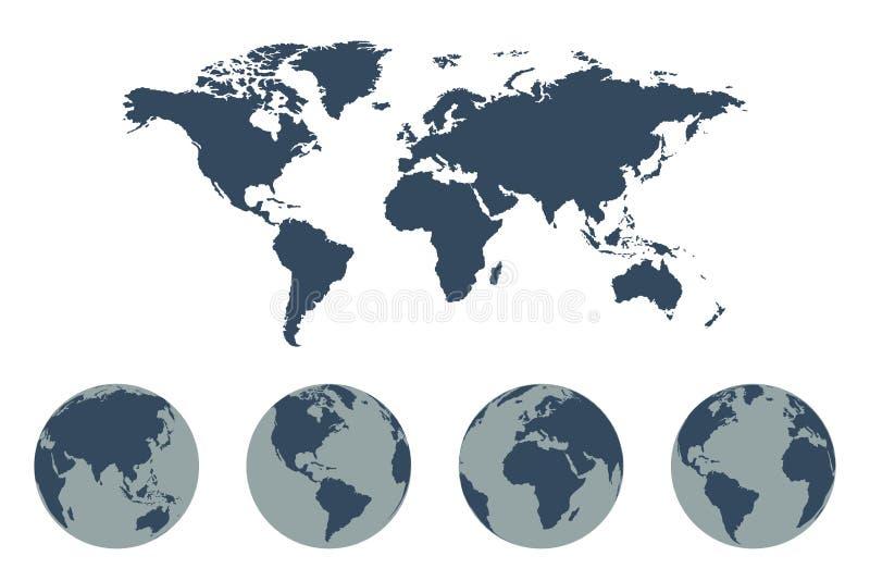 Światowej mapy Wektorowa ikona z Ziemskimi kulami ziemskimi royalty ilustracja