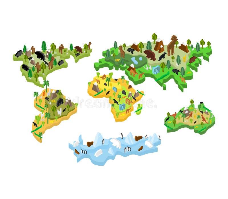 Światowej mapy zwierzęcy Isometric styl Ziemskie kontynent flory, faun i ilustracji