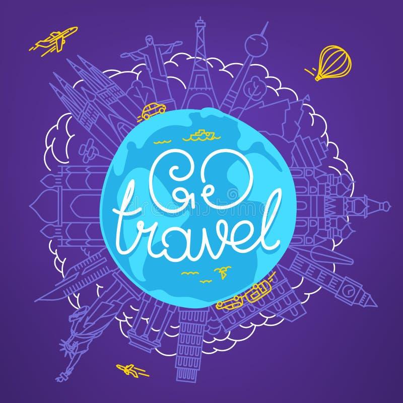 Światowej podróży wektorowy pojęcie z kaligraficznym logo ilustracja wektor