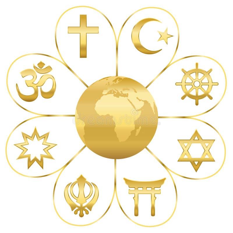 Światowej religii planety ziemi Złoty kwiat ilustracji