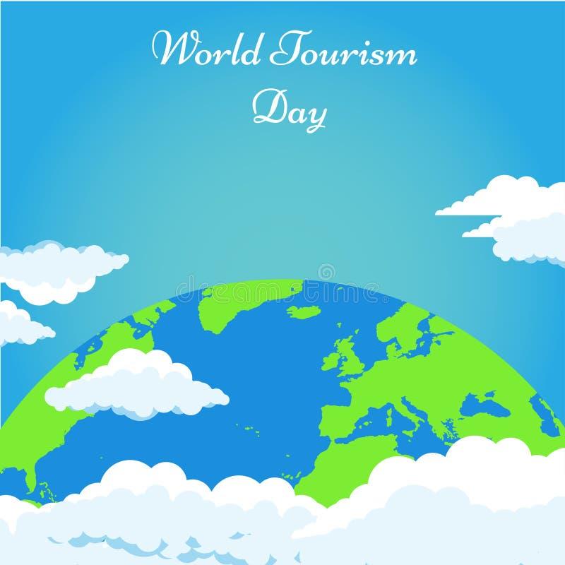 Światowej turystyki dnia tło z zieloną ziemią i chmura wektorowym ilustracyjnym plakatem royalty ilustracja