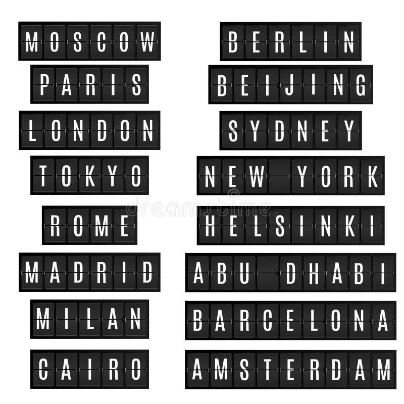 Światowi duzi miast imiona w lotniskowej rozkład zajęć desce projektują ilustracji