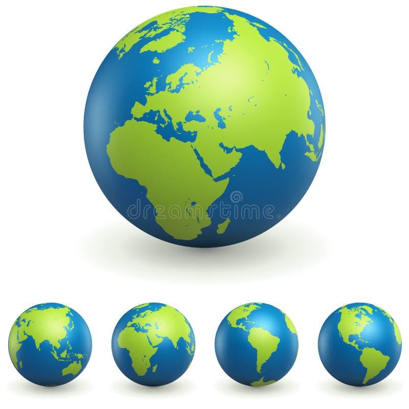 Światowi kuli ziemskiej 3D znaki Ustawiający ilustracji