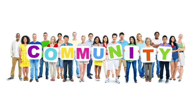 Światowi ludzie biznesu Trzyma słowo społeczności zdjęcia stock