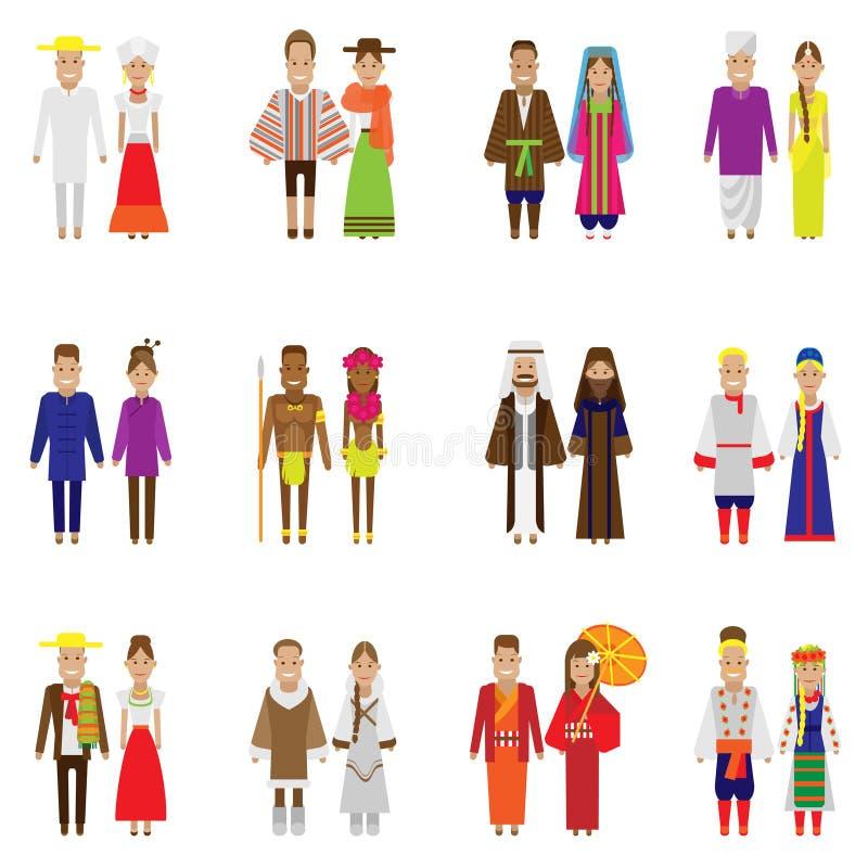 Światowi ludzie ikona setu ilustracja wektor