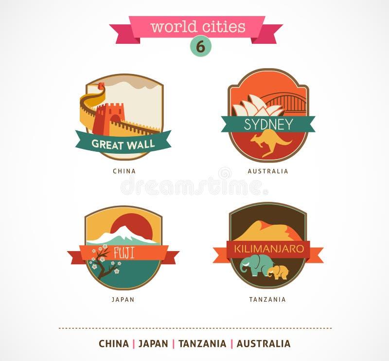 Światowi miasta - Sydney, Chiny, Fuji, Kilimanjaro ilustracja wektor