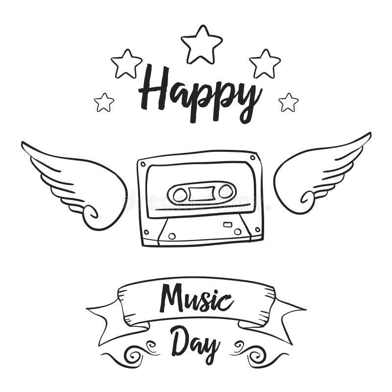 Światowi muzyczni dzień ręki remisu doodles ilustracji