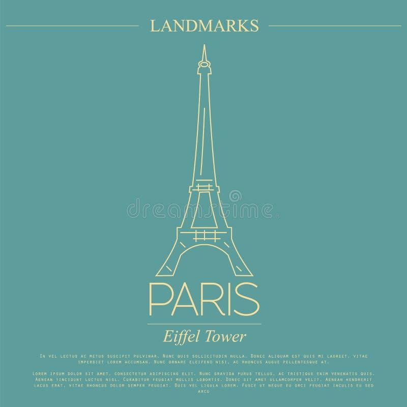 Światowi punkty zwrotni paris Francja wieża eiffla Graficzny szablon royalty ilustracja