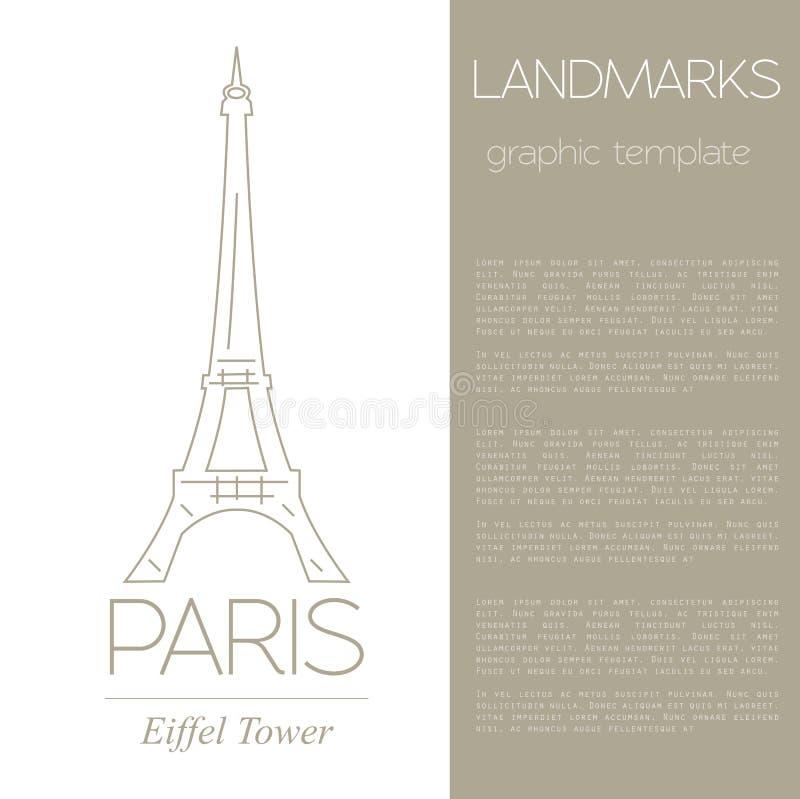 Światowi punkty zwrotni paris Francja wieża eiffla Graficzny szablon ilustracji