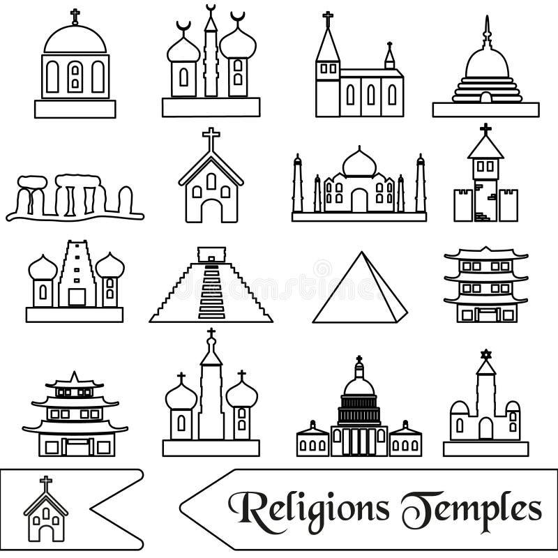 Światowi religia typ świątynia konturu ikony ilustracji