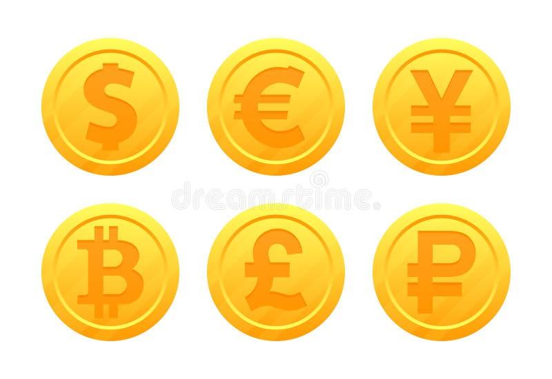 Światowi waluta symbole w postaci złocistych monet z znakami: dolar, euro, funt, rubel, jen, bitcoin, Juan royalty ilustracja