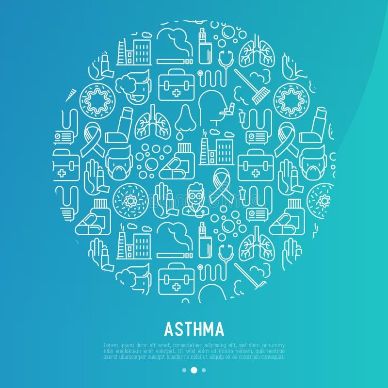 Światowy astma dnia pojęcie w okręgu royalty ilustracja