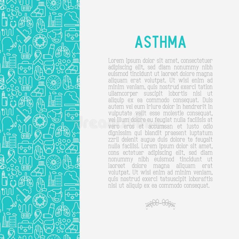 Światowy astma dnia pojęcie z cienkimi kreskowymi ikonami ilustracja wektor