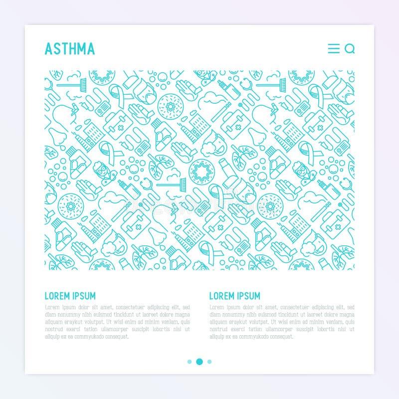 Światowy astma dnia pojęcie z cienkimi kreskowymi ikonami royalty ilustracja