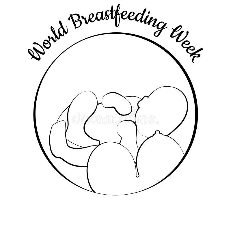 Światowy Breastfeeding tydzień Dziecka i kobiety ` s piersi Liniowa ilustracja royalty ilustracja