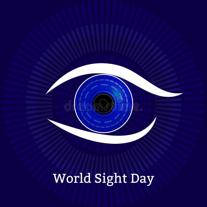 Światowy celowniczy dzień Pojęcie wakacje zdrowie Symboliczny wizerunek oko Technologiczne tekstury - komputerowi diagnostycy dis royalty ilustracja