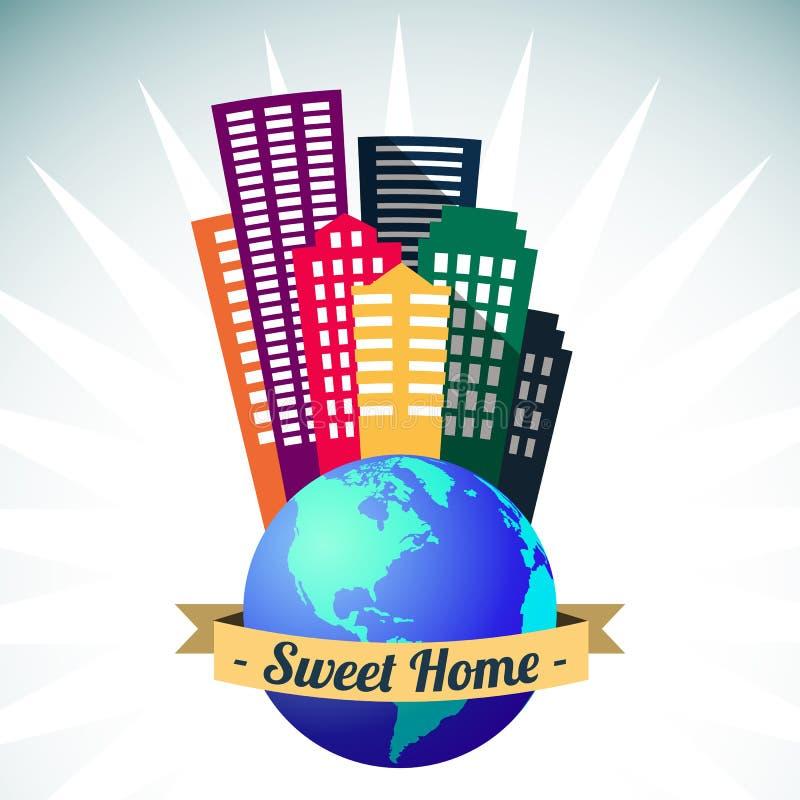 Światowy cukierki domu logo, wektor ilustracji