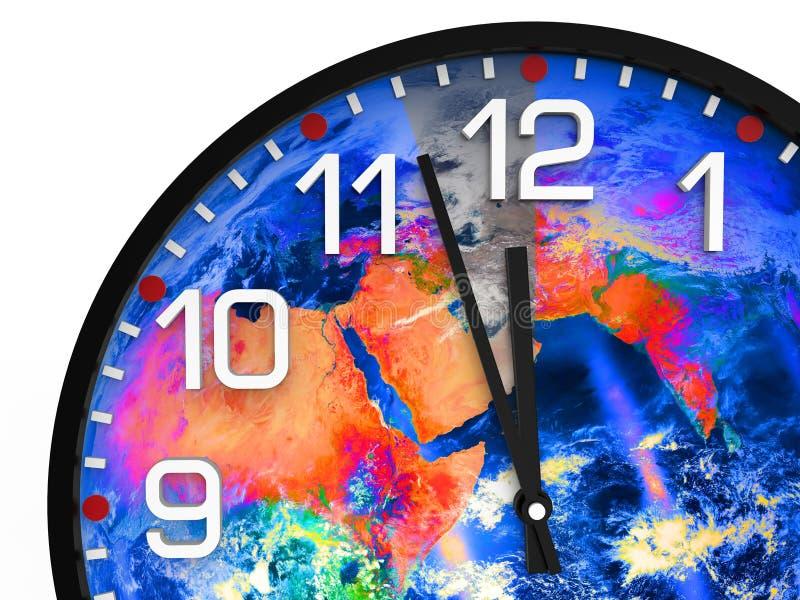 Światowy czasu dzień zagłady 23 57 hrs, elementów ten wizerunek meblujący NASA/ ilustracja wektor