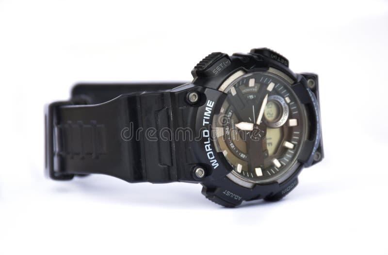 Światowy czasu zegarka czerń na białym tle zdjęcie royalty free