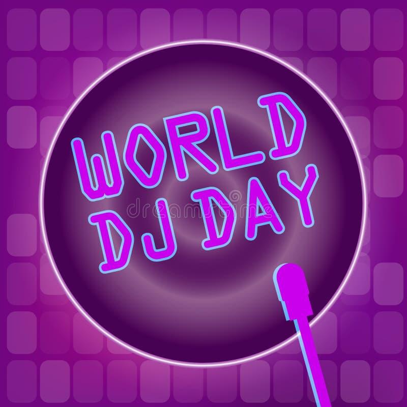 Światowy DJ dnia sztandar Dyskoteki noc i klub royalty ilustracja