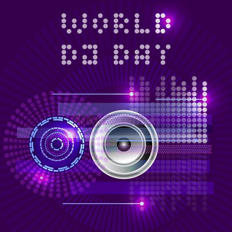 Światowy DJ dzień Abstrakcjonistyczny wektor DJ, radio, muzyka ilustracji