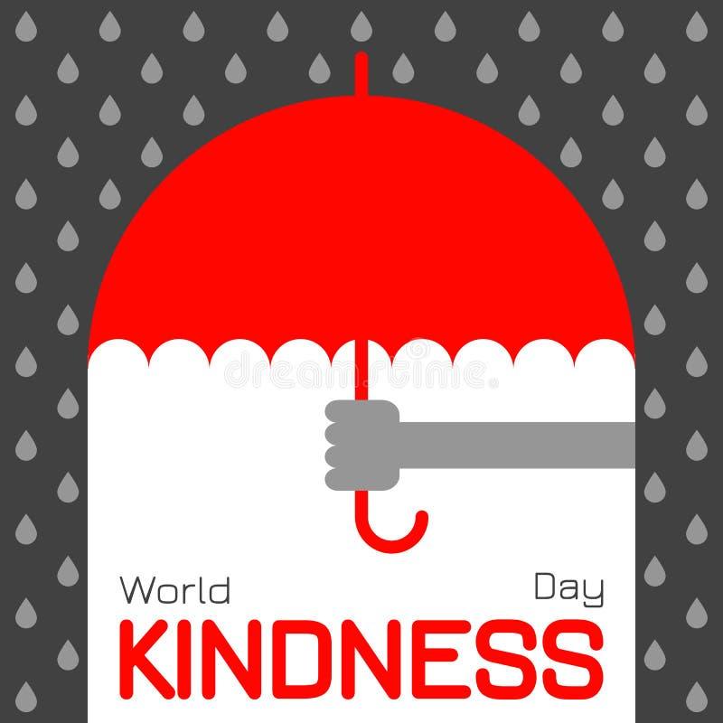 Światowy dobroć dzień Ręka oferuje parasol w deszczu ilustracji