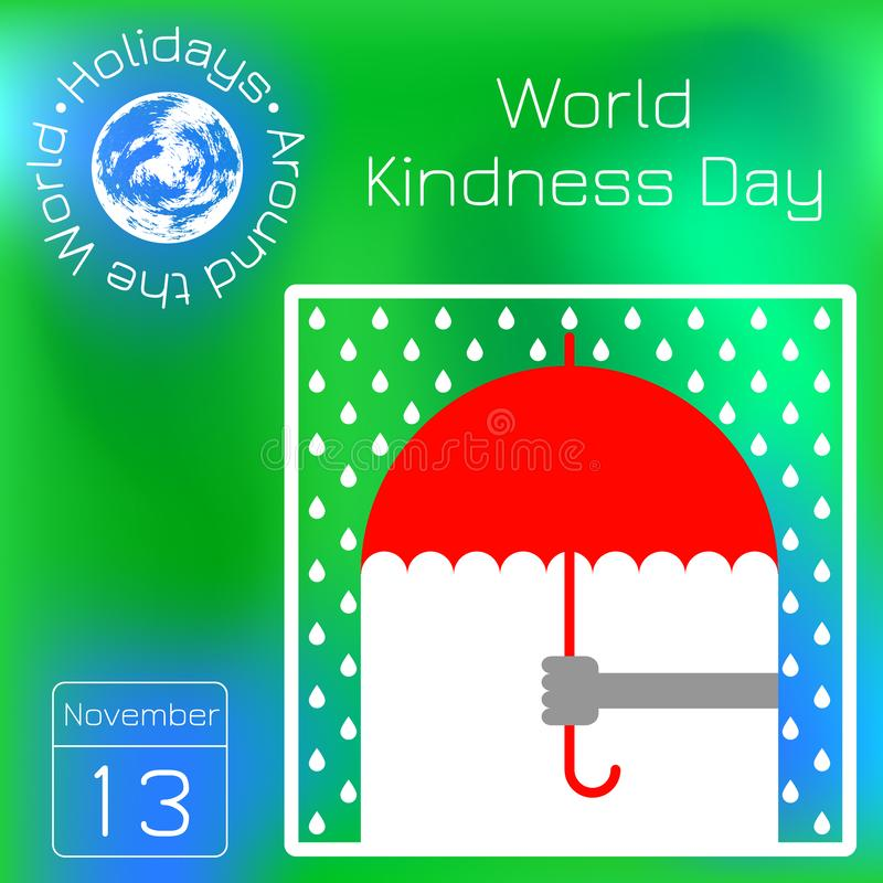 Światowy dobroć dzień Ręka oferuje parasol w deszczu kalendarz Wakacje Dookoła Świata Wydarzenie każdego dnia Zielona plama z pow royalty ilustracja