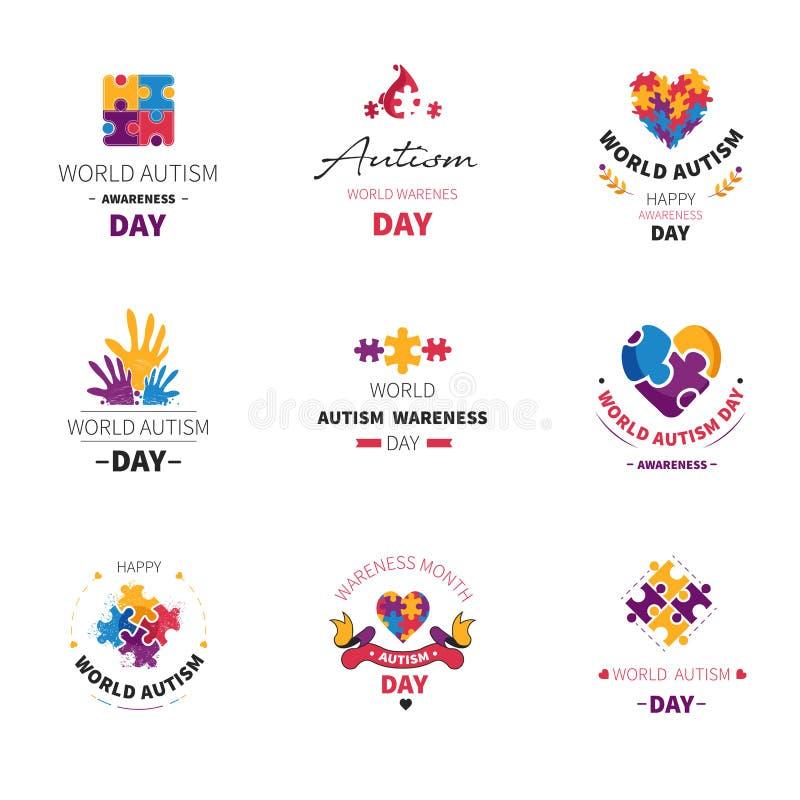 Światowy dzień odizolowywać autyzm ikony ręki i łamigłówka ilustracja wektor