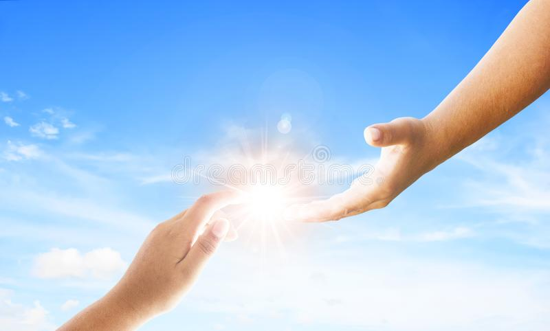 Światowy dzień wspominanie: Bóg ` s pomocna dłoń zdjęcia stock