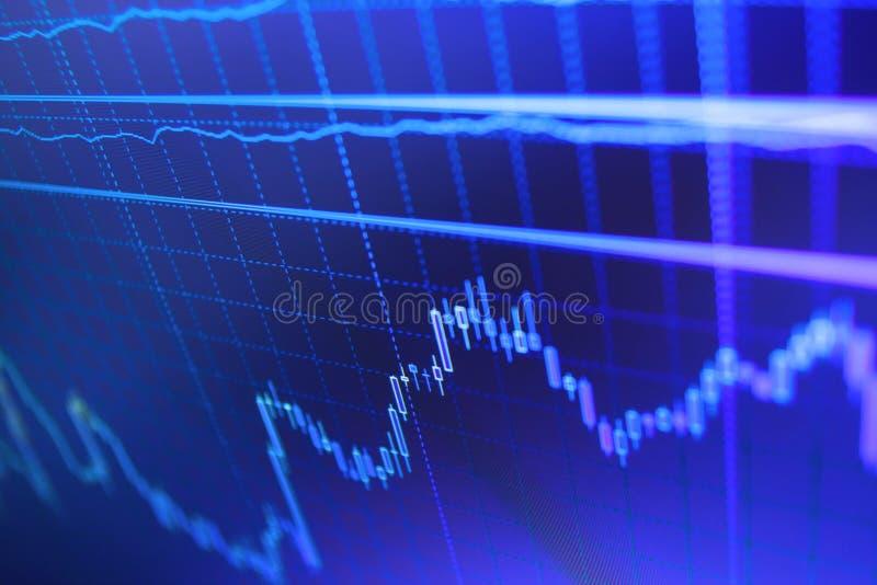 Światowy ekonomia wykres Duzi dane na DOWODZONYM panelu Inwestować i pojęcie zyskujemy i zyski z zatartym candlestick sporządzają zdjęcia royalty free
