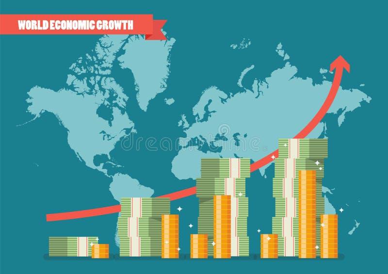 Światowy ekonomiczny przyrost infographic ilustracja wektor