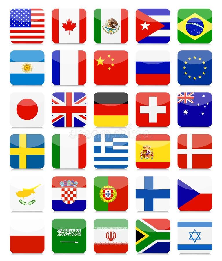 Światowy flaga mieszkania kwadrata ikony set royalty ilustracja
