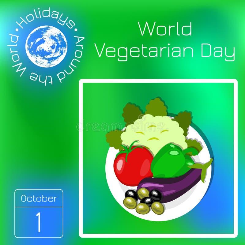 Światowy jarski dzień Kalafior, Bułgarski pieprz, oberżyna, oliwki Seria kalendarz Wakacje Dookoła Świata Wydarzenie each d ilustracji