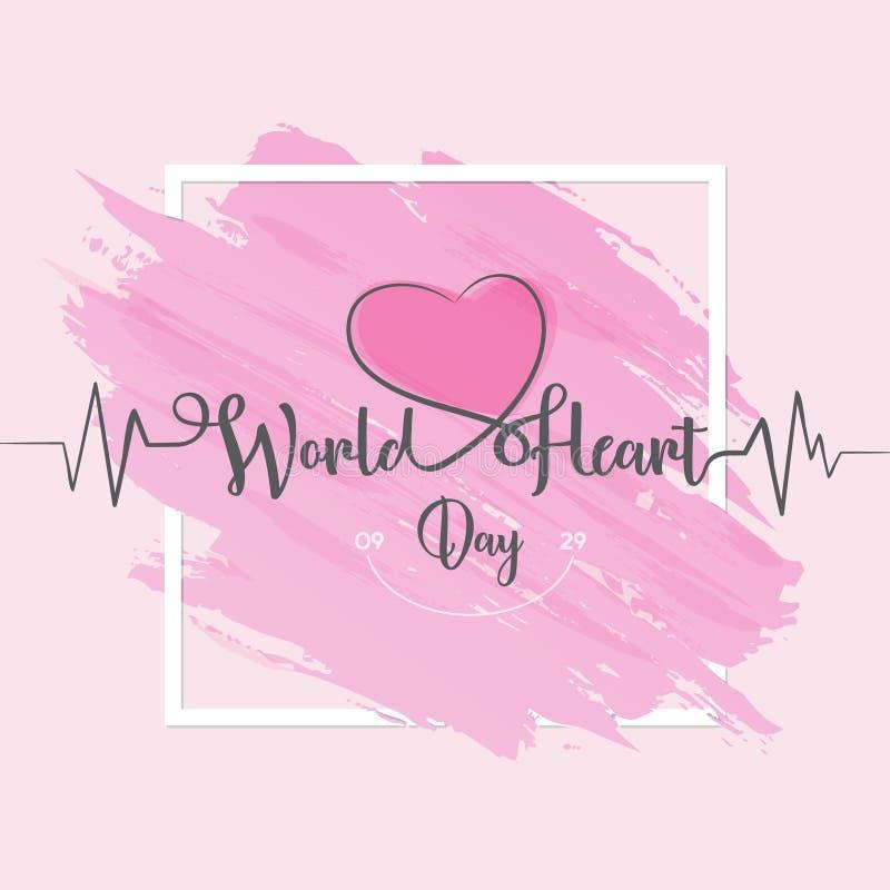 Światowy Kierowy dnia kartka z pozdrowieniami list kreskowy serce i cardio pulsu ślad na kuli ziemskiej - royalty ilustracja