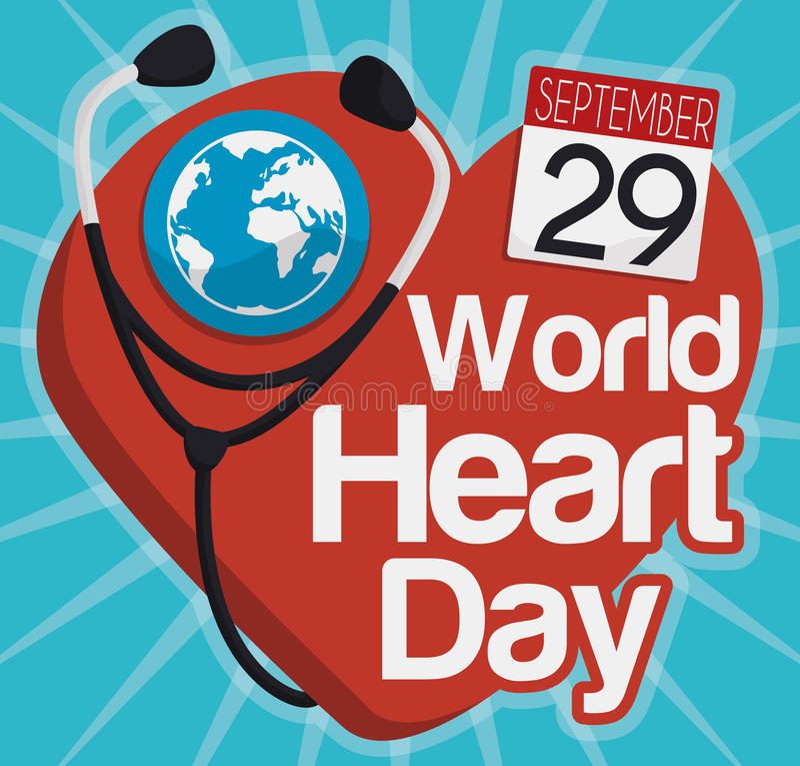 Światowy Kierowy dnia projekt z stetoskopu i kalendarza przypomnieniem, Wektorowa ilustracja ilustracji