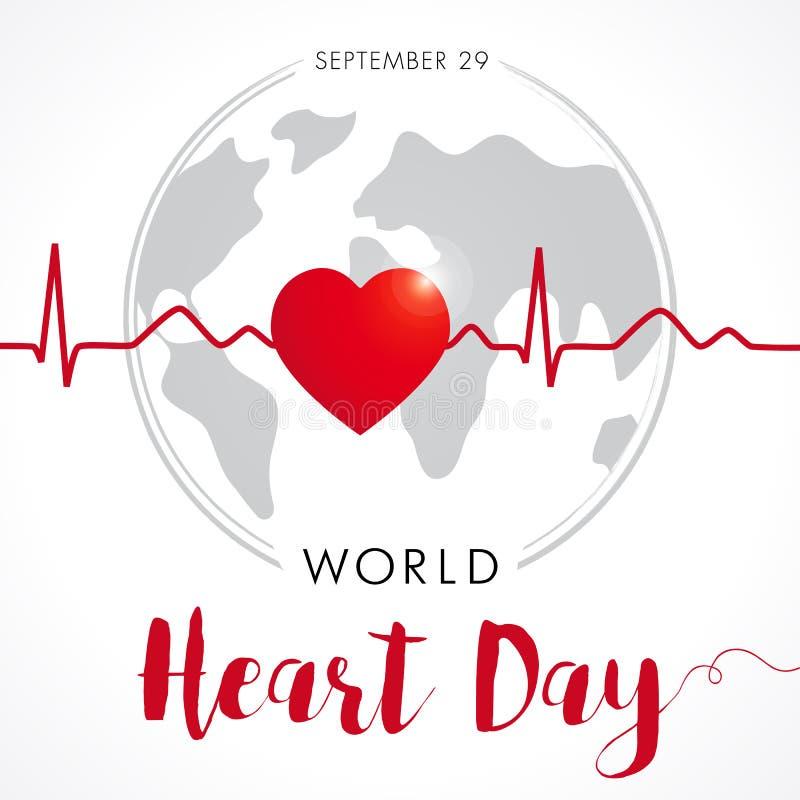 Światowy Kierowy dzień karty, kierowego i cardio pulsu ślad na kuli ziemskiej, royalty ilustracja