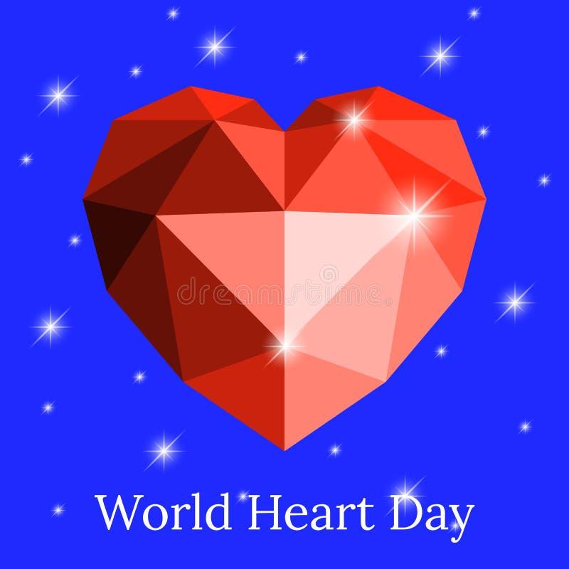 Światowy kierowy dzień 29 Wrzesień Serce origami przeciw niebu z gwiazdami Poligonalne grafika ilustracji