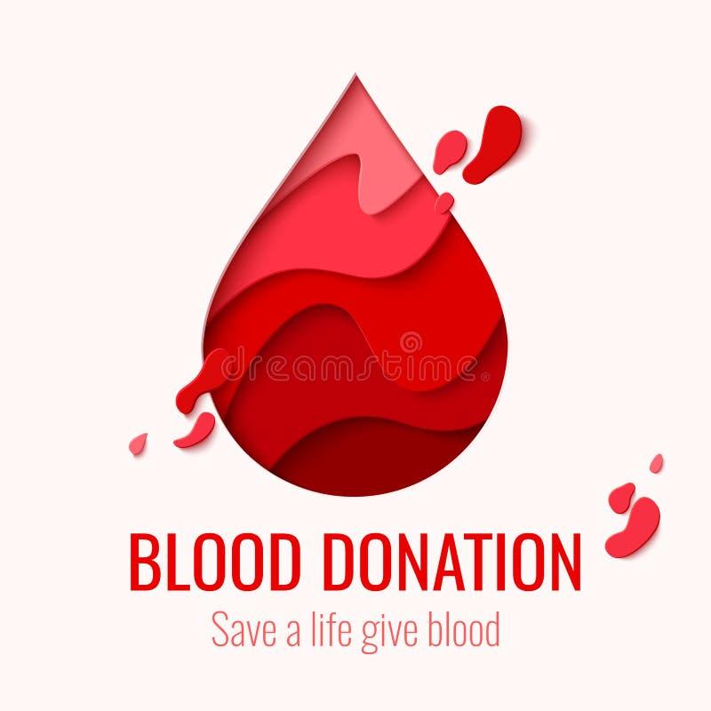 Światowy Krwionośnego dawcy dzień - czerwień papieru krwi rżnięta kropla royalty ilustracja
