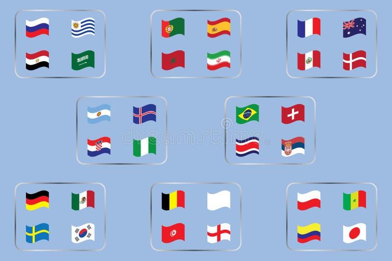 Światowy mistrzostwo Wektorowe flaga kraj 2018 w Rosja royalty ilustracja