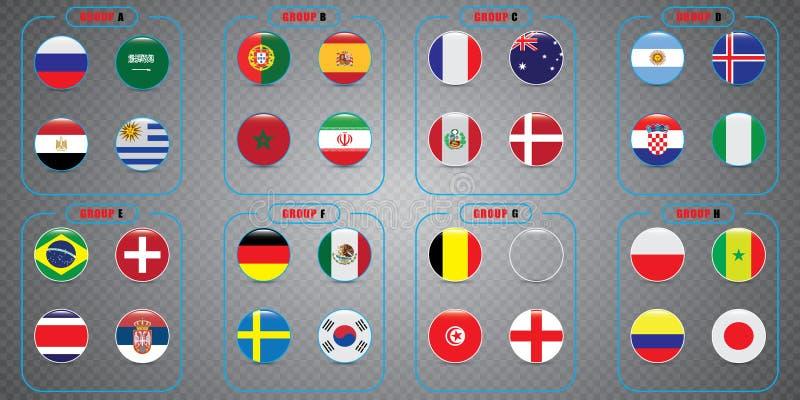 Światowy mistrzostwo Wektorowe flaga kraj 2018 w Rosja ilustracja wektor