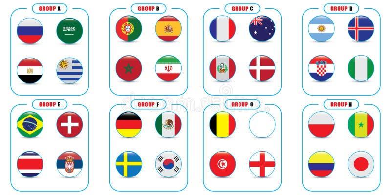 Światowy mistrzostwo Wektorowe flaga kraj 2018 w Rosja ilustracji